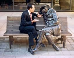 Cellist Yo Yo Ma, conversing with Glenn Gould's statue in downtown Toronto